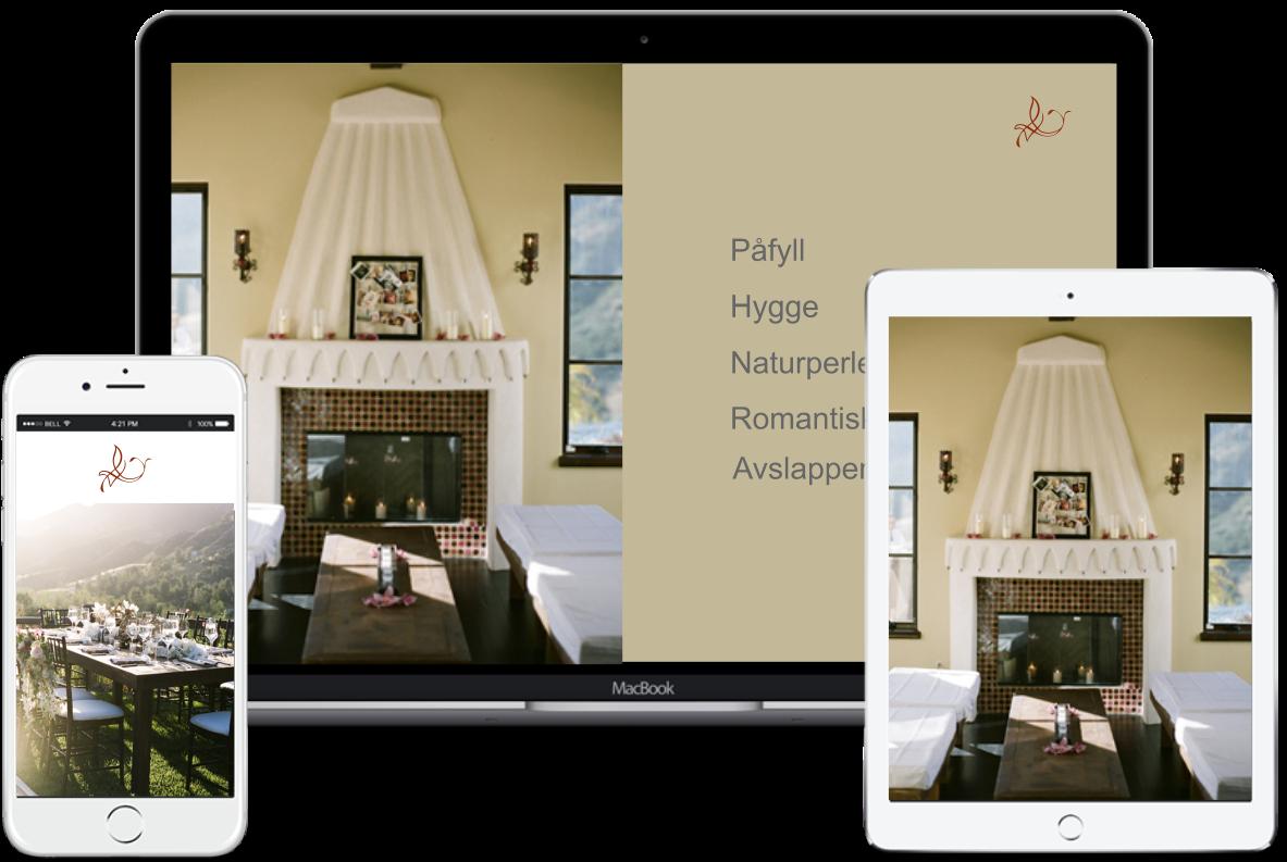 Bilde av responsiv utforming, både PC, nettbrett og mobil.